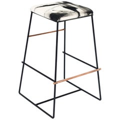 Black and Copper Metal Bar Stool with Custom Hand-Painted Upholstery