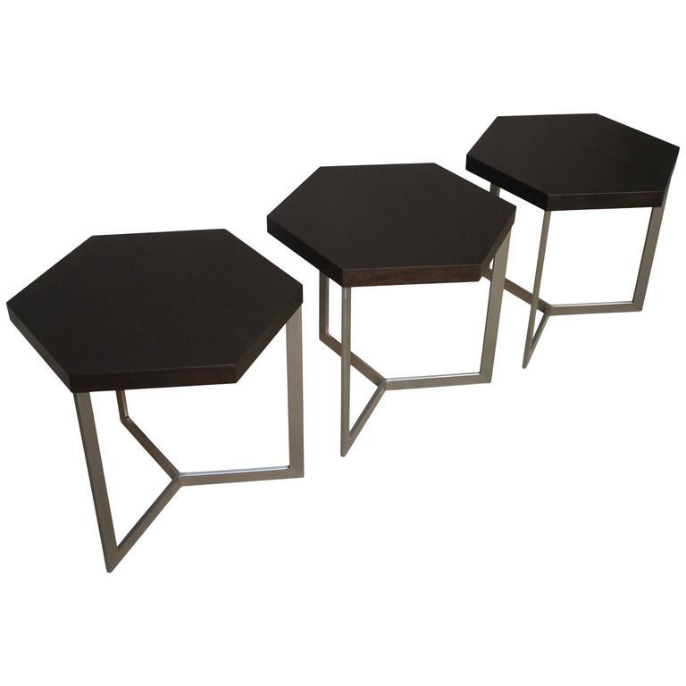 Nicoli Modern Hexangonal Side Table in Steel and Rosewood, Customizable