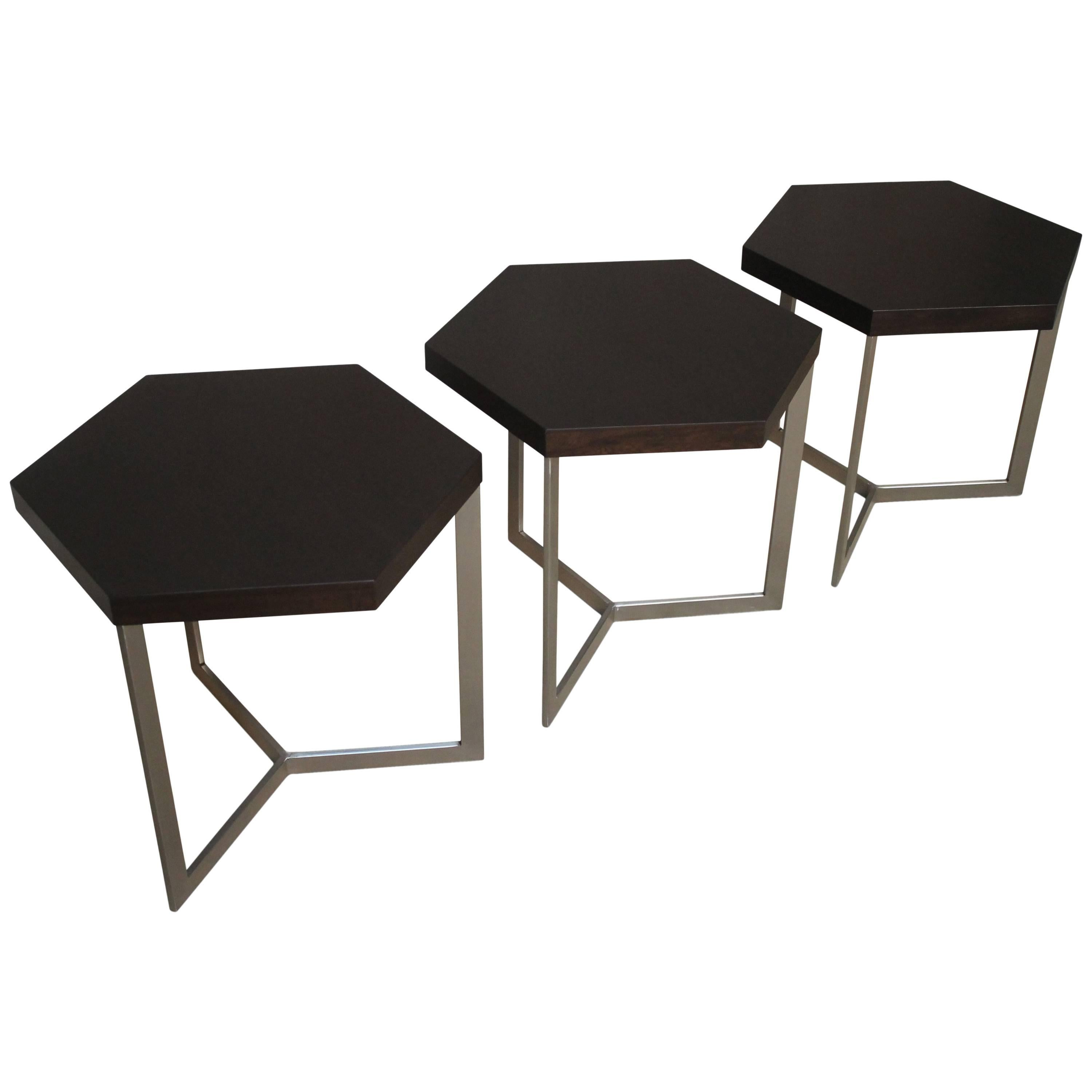 Modern Hexagonal Side Table in Steel and Rosewood from Costantini, Nicoli