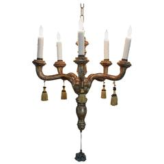 Diminutive Italian Rococo Carved Giltwood Chandelier, Five Lights, 18th Century