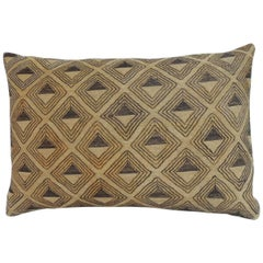 Vintage Tan and Brown Kuba Embroidery African Decorative Pillow