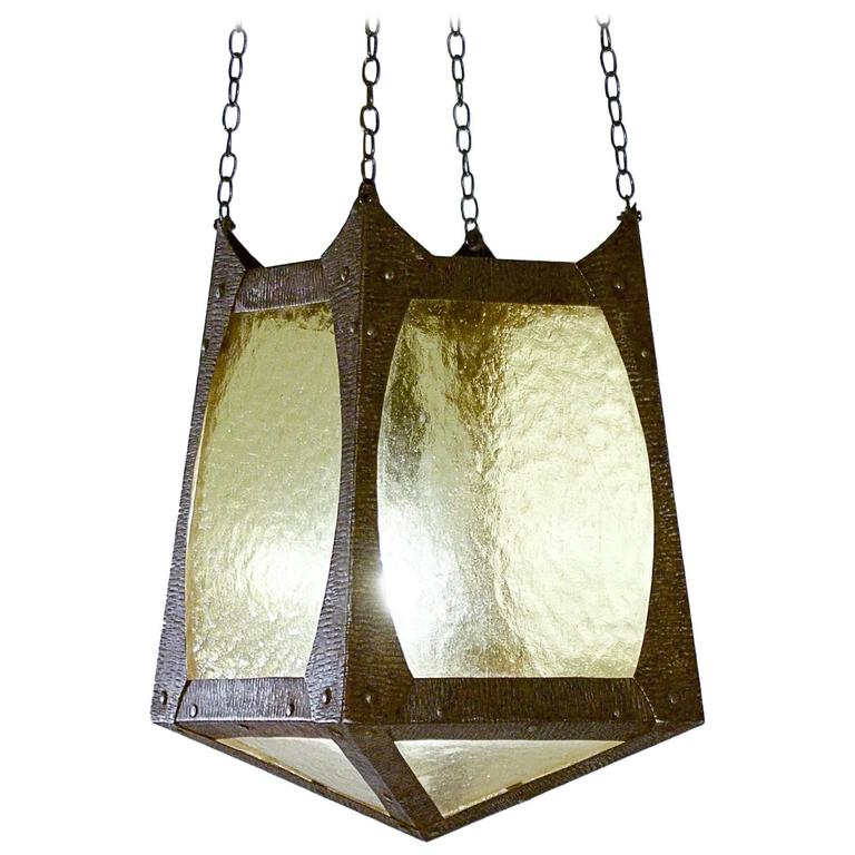 Small arts and crafts metal and glazed lantern for sale at for Metal arts and crafts