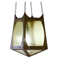 Small Arts & Crafts Metal and Glazed Lantern