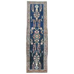 Navy Blue Antique Persian Sarouk Runner