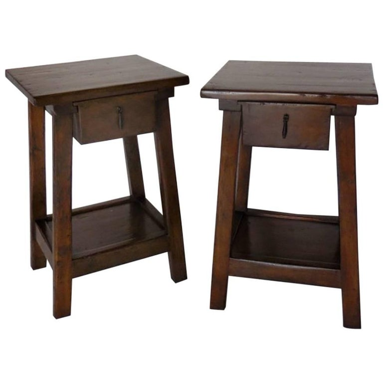 Dos Gallos Pair of Custom Side Tables or Nightstands with Drawer and Shelf For Sale