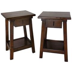 Dos Gallos Pair of Custom Side Tables or Nightstands with Drawer and Shelf