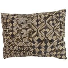 Vintage Tan and Brown African Kuba Textile Decorative Pillow