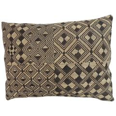 Vintage Handwoven African Kuba Textile Decorative Lumbar Pillow