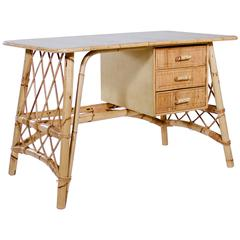 Cane and Rattan Riviera Style Writing Table Probably by Louis Sognot