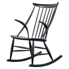 Illum Wikkelso Black Rocking Chair, Denmark, 1950s