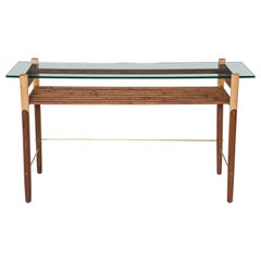 Walnut, Maple, and Brass Console with Tempered Glass Top