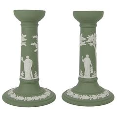 Wedgwood Neoclassical Candlestick Pair in Solid Green Jasper