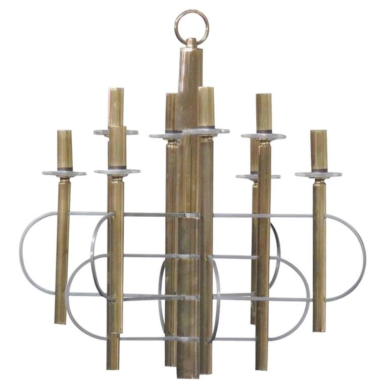 Parzinger Style Brass and Chrome Chandelier
