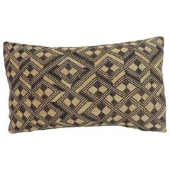 Vintage Handwoven Orange and Brown African Decorative Lumbar Pillow