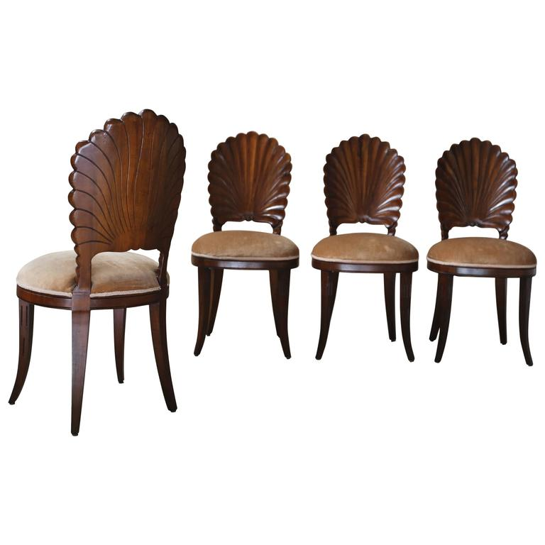Merveilleux Set Of Four Venetian Grotto Chairs For Sale