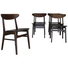 Danish Farstrup Oval Back Dining Chairs Set of Six