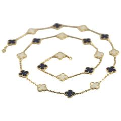 Lapis Lazuli and White Coral 20 Motif Alhambra Necklace by Van Cleef & Arpels