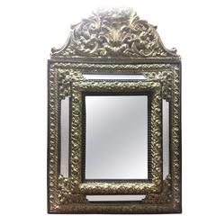 19th Century French Louis XIV Style Ebony and Gilded Brass Mirror