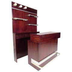 Stylish Modern Two-Piece Italian Rosewood Bar