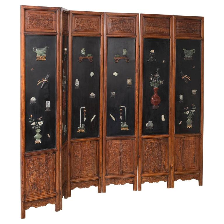 Important Chinese Jade Decorated Lacquered and Hardwood Six Fold Screen