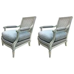 Pair of French Mid-Century Modern Neoclassical Lounge Chairs by Maison Jansen