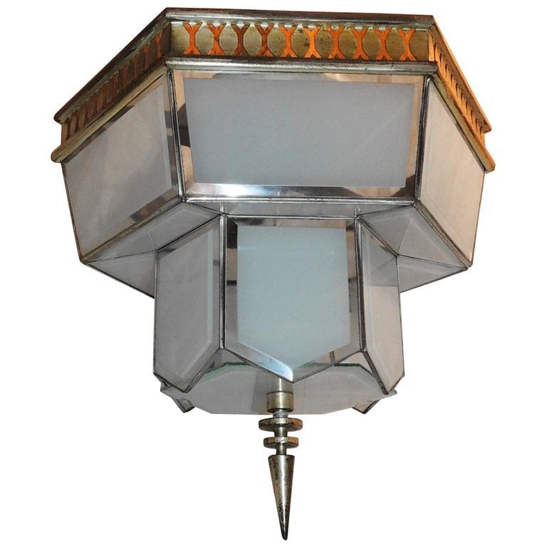 Fine Art Deco Hexagon Frosted Glass Nickel Chandelier Flush Mount Fixture Modern For Sale