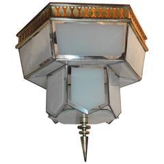 Fine Art Deco Hexagon Frosted Glass Nickel Chandelier Flush Mount Fixture Modern