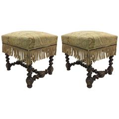 Pair of Hand-Carved French 19th Century Louis XIII Style Barley Twist Benches