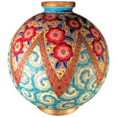 Rare French Art Deco Ceramic Vase by Longwy