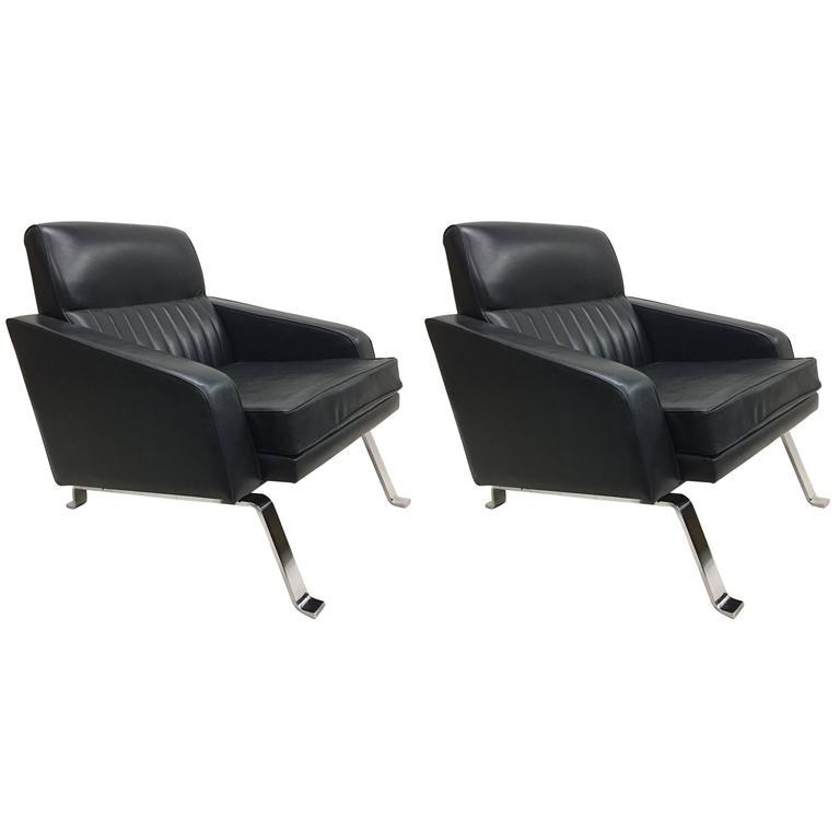 Pair Italian Midcentury Lounge Chairs, Style of Ignazio Gardella, Diagramma For Sale