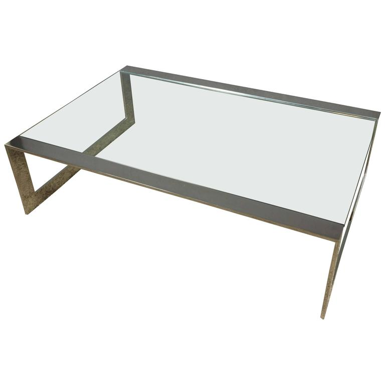 1970s Polished Steel and Glass Coffee Table