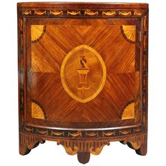 Russian Neoclassical Rosewood and Inlaid Corner Cabinet
