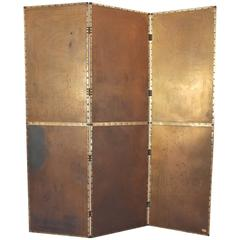 Mid-Century Brass-Plated Steel Screen or Room Divider