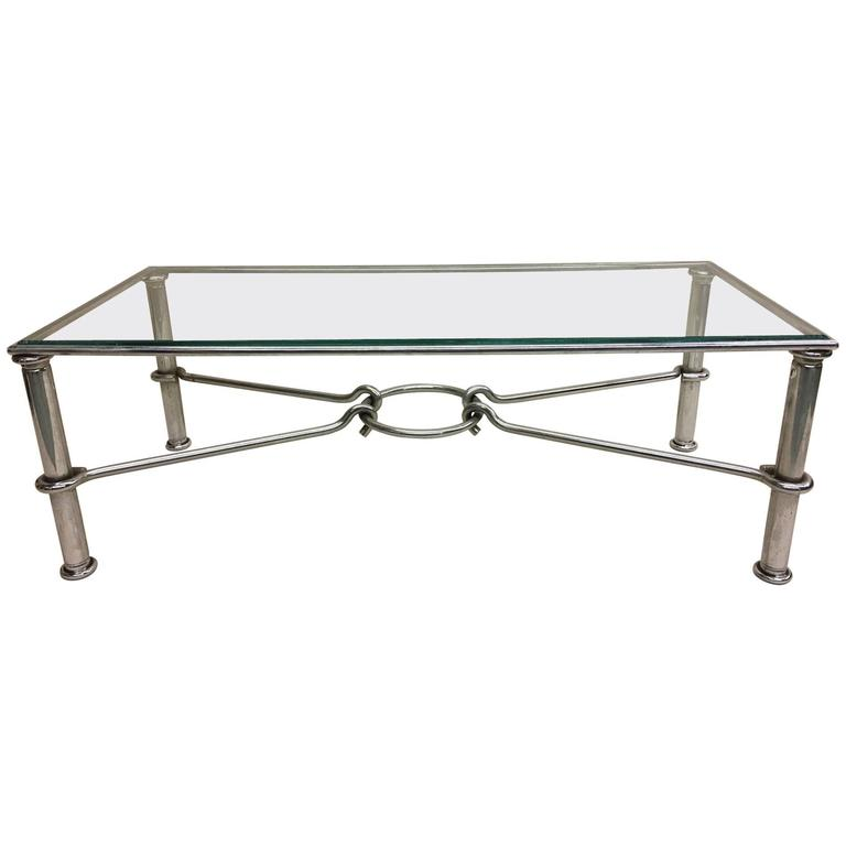 Italian Mid-Century Modern Nickel Coffee Table, Giovanni Banci for Hermes, Italy