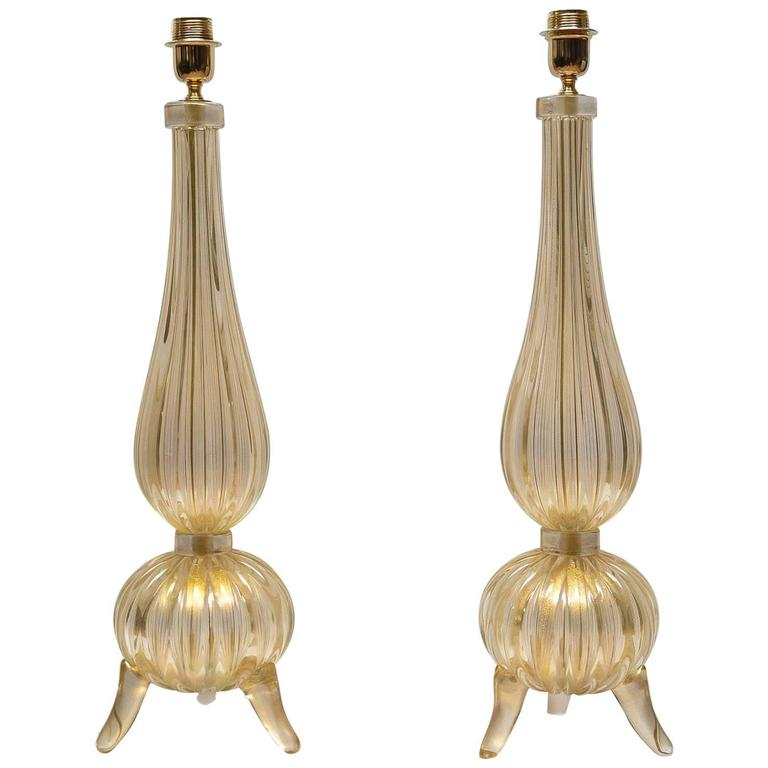 "Pair of Table Lamps in Murano Glass Signed ""Toso Murano"" 1"