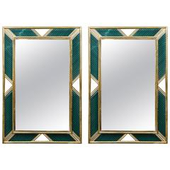 Pair of Brass and Murano Glass Mirrors