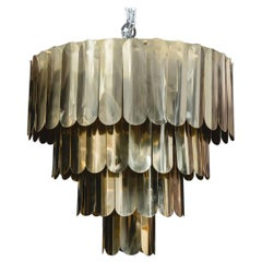 Impressive Brass Chandelier with Nenuphar Leaves