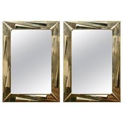 Modern Pair of Brass Mirrors