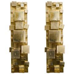 Pair of Very Original Brass Sconces