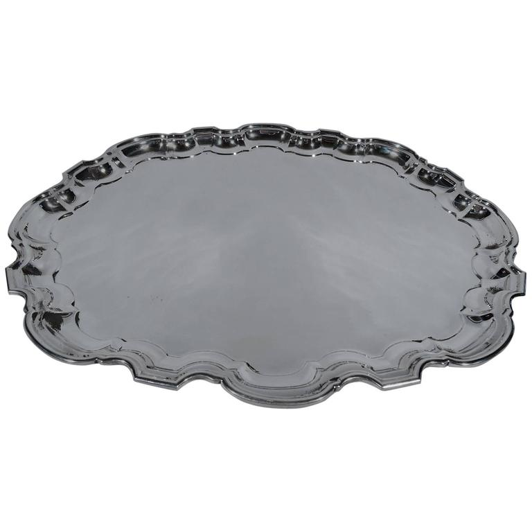 Tiffany Sterling Silver Tray with Georgian Piecrust Rim