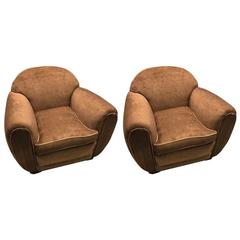 Pair of Art Deco Macassar Style Club Chairs