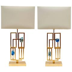 Pair of Painted Lamps and Slag Glass Decors