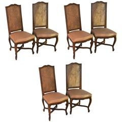 Set of 6 Yellow Painted French Regency Style Carved Dining Room ...