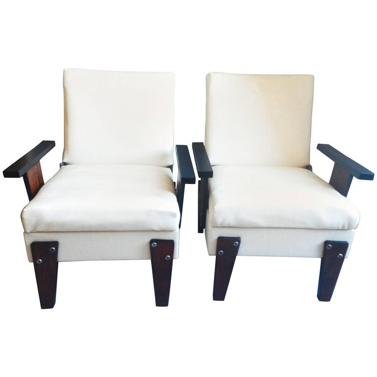 Mid-Century Modern Pair of Armchairs, Brazil, circa 1950 For Sale