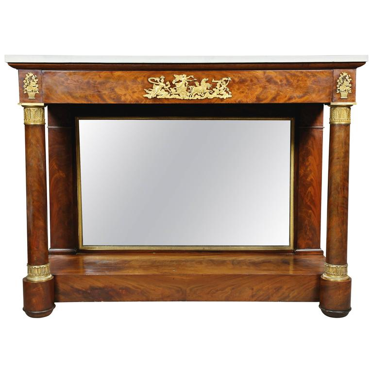 French Empire Mahogany and Ormolu Mounted Console Table