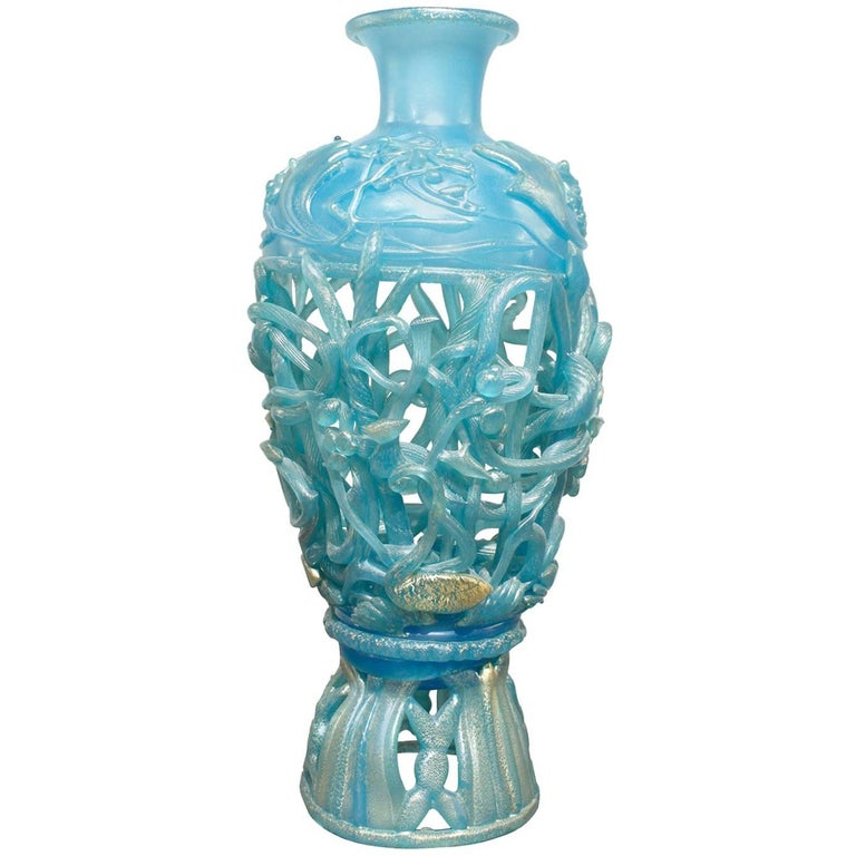 Ermanno Nason Hand-Blown Vase in Opalescent Blue Glass & Gold Overlay, 1967 For Sale