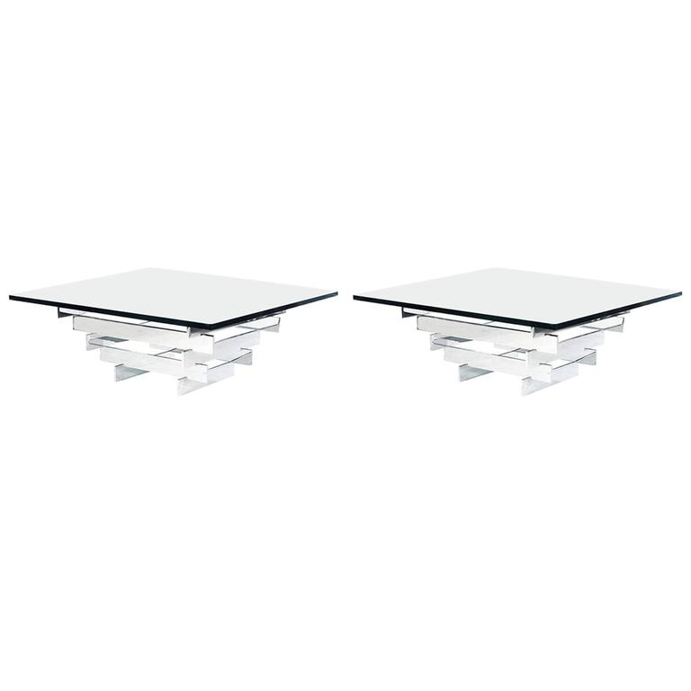 Pair of Paul Mayen Minimalist Chrome and Glass Tables For Sale