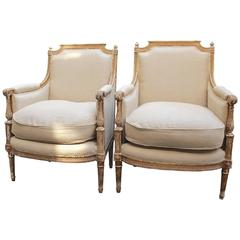 Pair of Antique French Late 18th-Early 19th Century Louis XVI Bergeres
