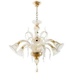 Six-Arm Gold Murano Chandelier