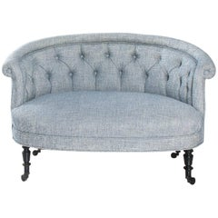 Petite French Napoleon III Round Scroll Back Sofa
